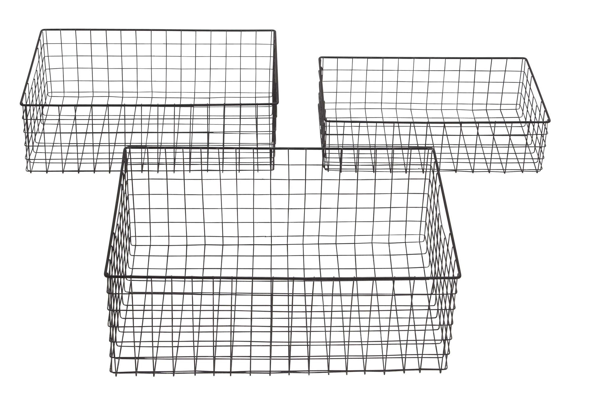 Woodland Imports 3 Piece Metal Wire Basket Set & Reviews