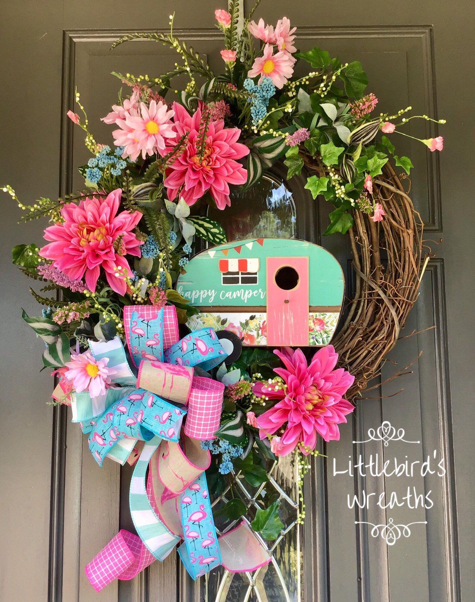 Photo of Camping wreath, summer decor, flamingo wreath, floral wreath, front door wreath, floral mobile wreath