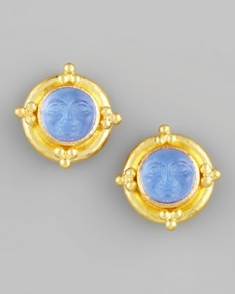 Elizabeth Locke Man-in-the-Moon Intaglio Stud Earrings, Crystal
