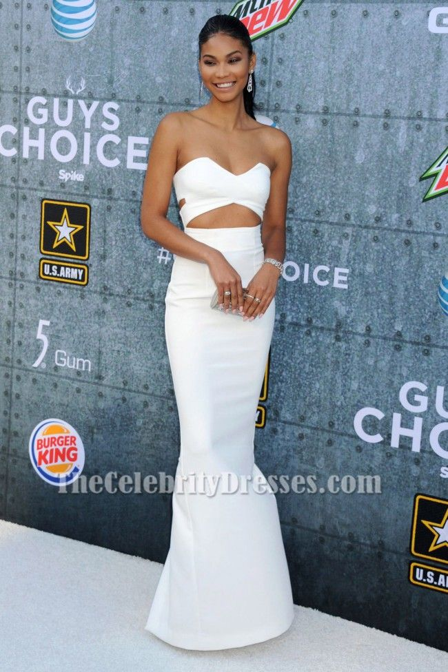 f8c89dec8ea Chanel Iman Ivory Cut Out Evening Dress 2015 Spike TV  Guys Choice Awards -  TheCelebrityDresses