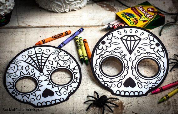 Punk Sugar Skull Day of the Dead Party printable decor kit Dia de - copy dia de los muertos mask coloring pages