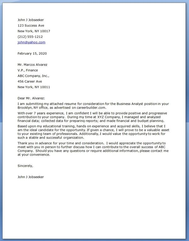 cover letter for business analyst