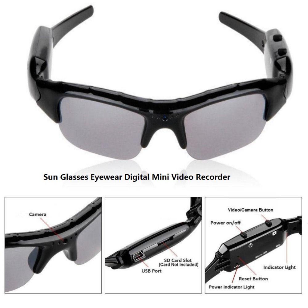 0e0b1c72438bd Mini HD Cam Sun Glasses Eyewear Digital Video Recorder Glass Camera Mini  Camcorder Video Sunglasses