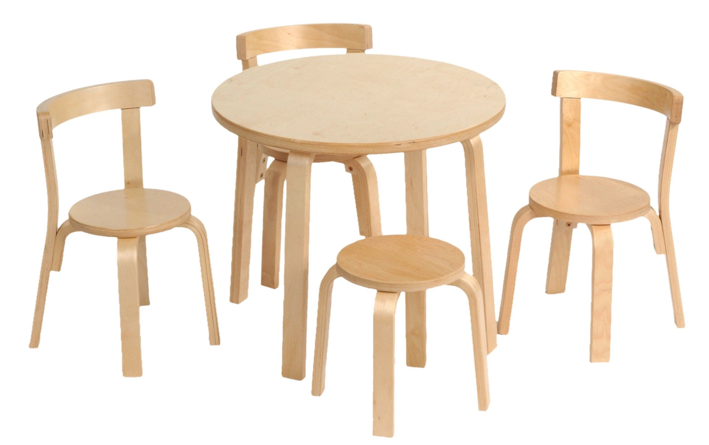 Kids Room Furniture Round White Oak Wood Table With Three Chairs