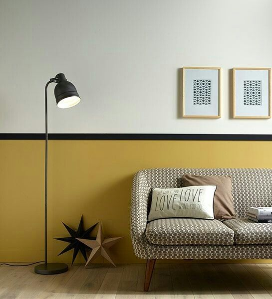 Low Bold Color. Black Chair Rail. Light Gray Paint. Modern