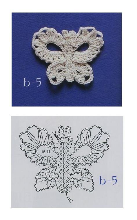 crochet pattern | ホームアイデア | Pinterest | Mariposas, Tejido y ...
