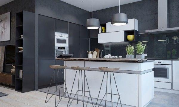 Cocina en blanco y gris oscuro Cocinas Pinterest Cocinas en