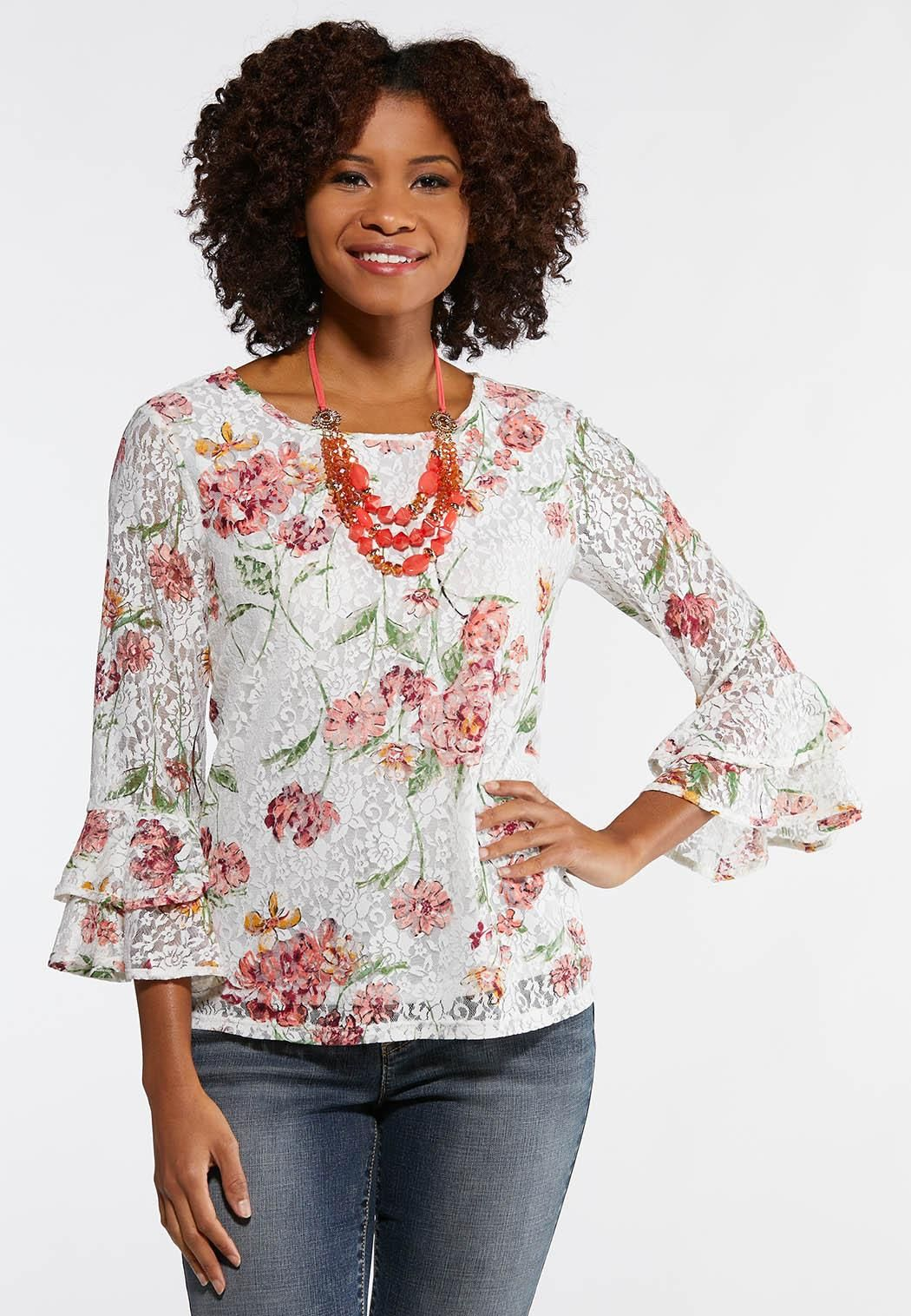 6cf204d7f88426 Floral Lace Top Tees & Amp ; Knit Tops Cato Fashions in 2019 ...