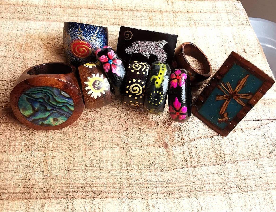 Hand Painted Wooden Rings Rustic Handmad Wooden Jewelry Hand Etsy Wooden Rings Wooden Jewelry Handcraft