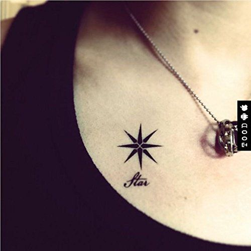 TOOD Octagram Star Temporary Tattoo Sticker Fashionable