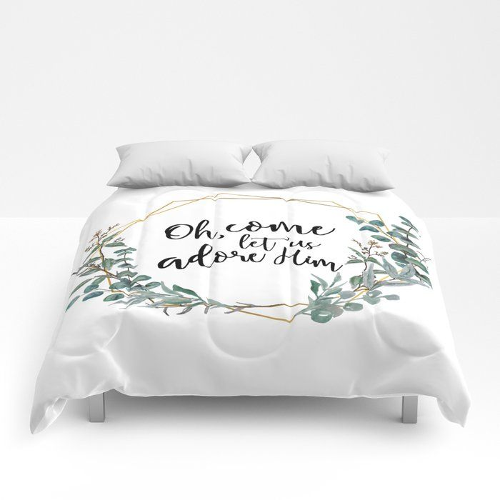 """Photo of Let's worship him eucalyptus wreath comforter through the related pines – Queen: 88 """"x 88"""""""
