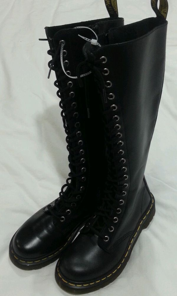 e7bbdb2448e Dr. Doc Martens Tall 20 Eye Black Leather Laceup Combat Side Zip Boots sz 5  35 #DrMartens #FashionKneeHigh