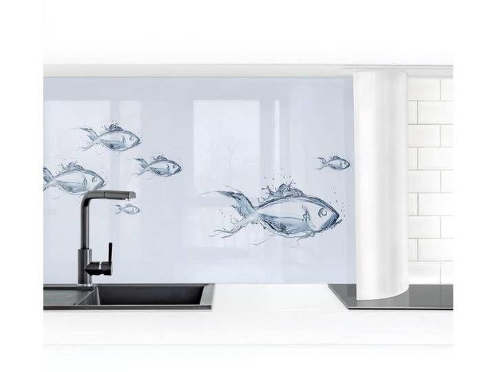Bilderwelten Küchenrückwand »Liquid Silver Fish I«, grau, 100x350cm, Premium, Grau #smartstorage