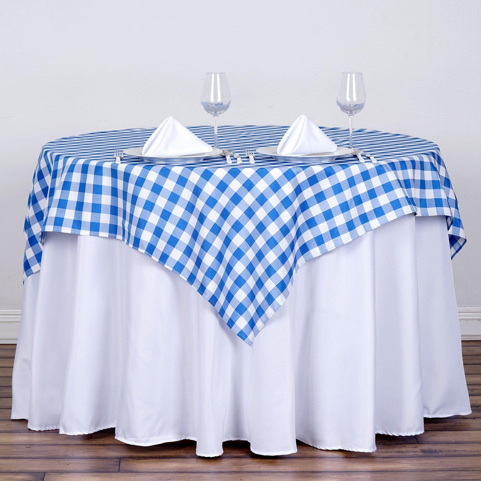 Buffalo Plaid Tablecloth 54 X54 Square White Blue Checkered