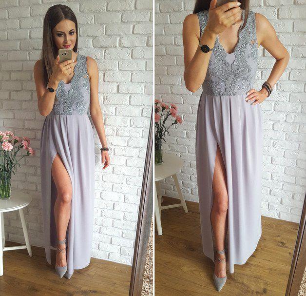 8a26996592 Długa sukienka z gipiurową górą szary - IlluminateComPl - Suknie wieczorowe