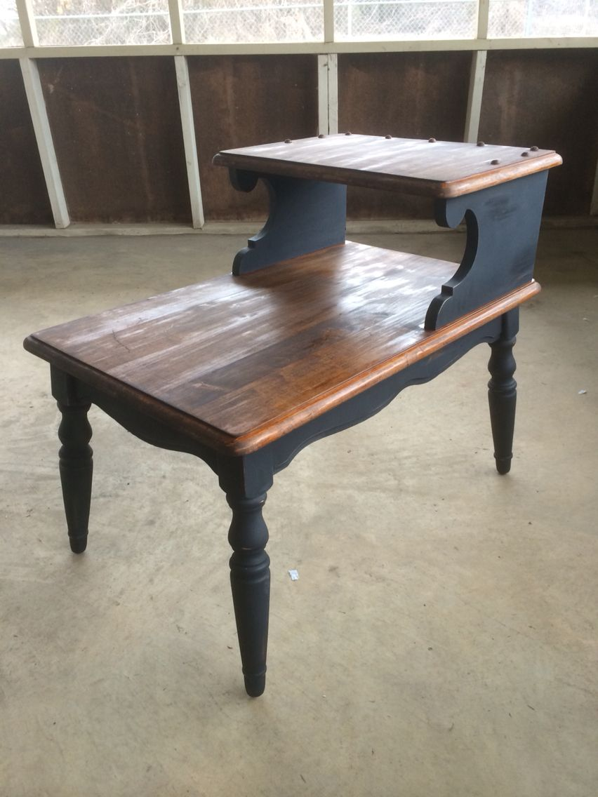 Two Toned Tier Antique End Table Diy