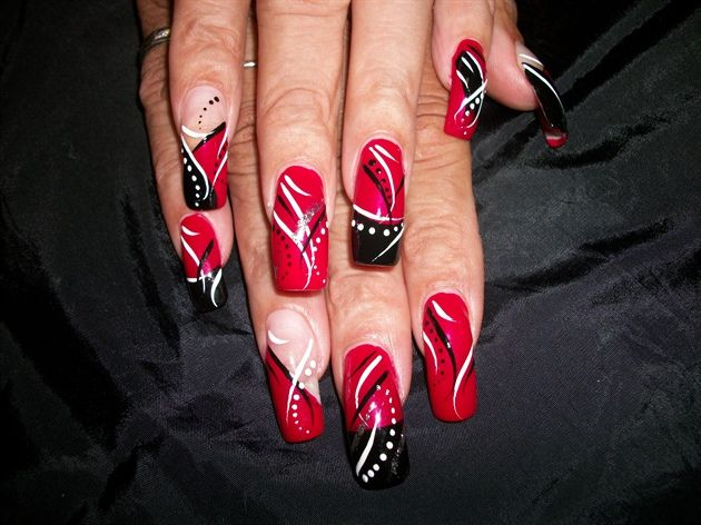 Cathyross 252963 L Jpg 630 472 Black And White Nail Designs Red Nail Art Red And White Nails