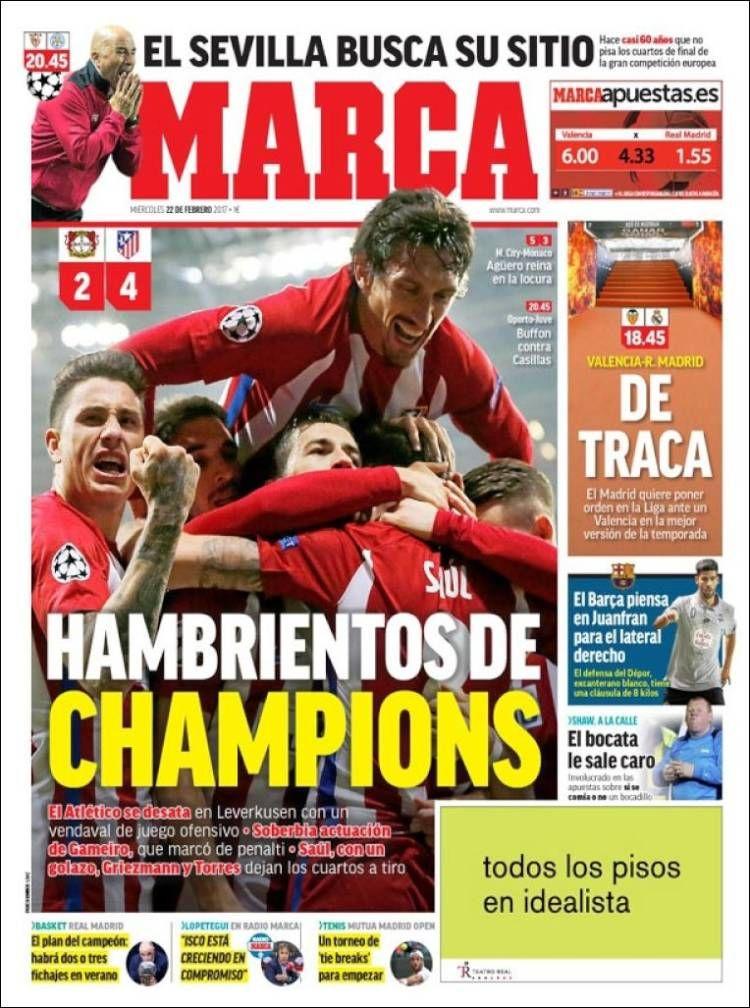 Portada de Marca (España) Periodicos de españa, Atletico