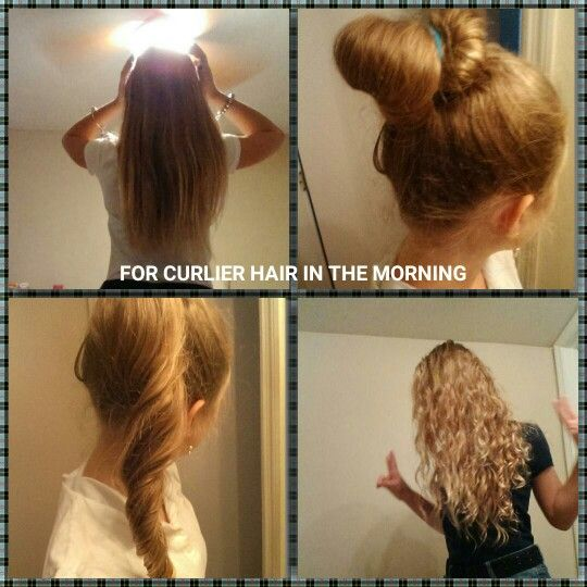 To Have Curly Hair For School 1 Make A Bun Before Bed 2 In The Morning Untwist Bun 3 Curly Hair For The School Curly Hair Styles Hair Curly