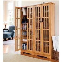 Double Width Arts And Crafts Style Glass Front Media Cabinet With  Adjustable Shelves