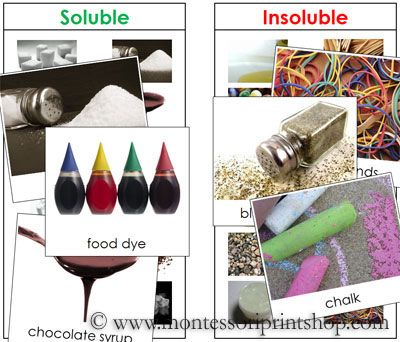 Soluble And Insoluble Sorting Cards  Printable Montessori Science
