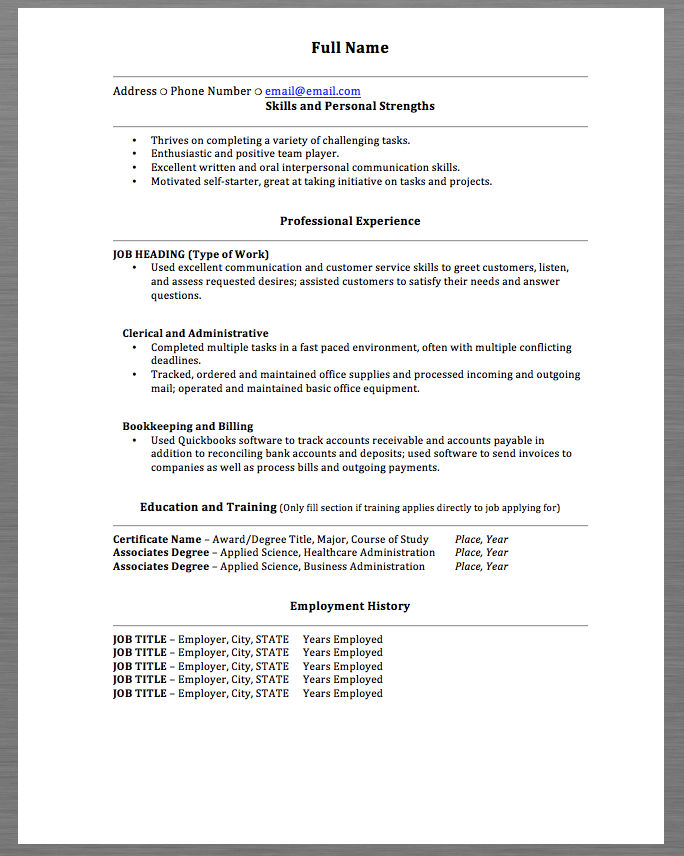 Skills Resume Examples Full Name Address  Phone Number  Email