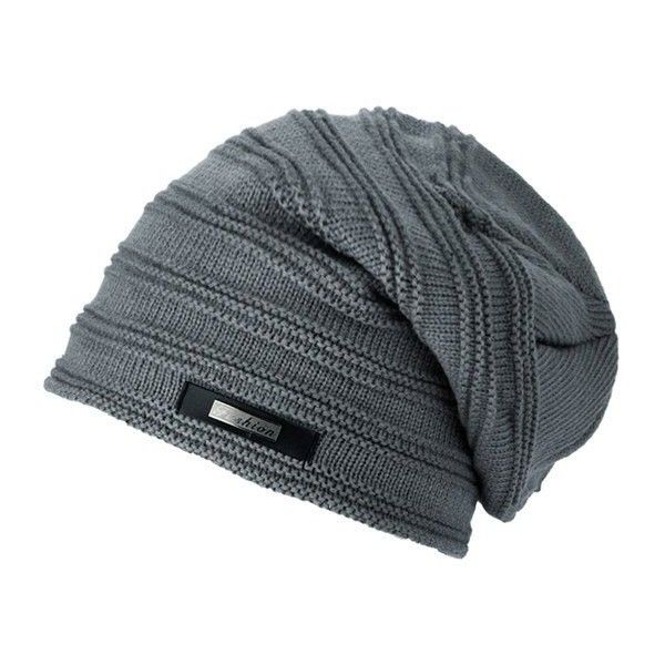 Horizontal Stripe Label Knitted Ski Hat (7.89 BAM) via Polyvore featuring accessories, hats, ski cap, watch cap and ski hat