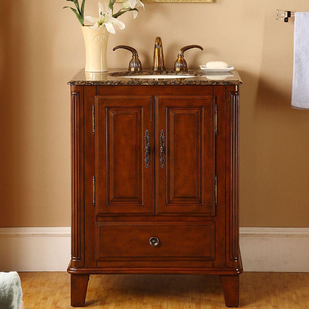 Silkroad Exclusive Granite Top 28 Inch Single Sink Vanity Cabinet