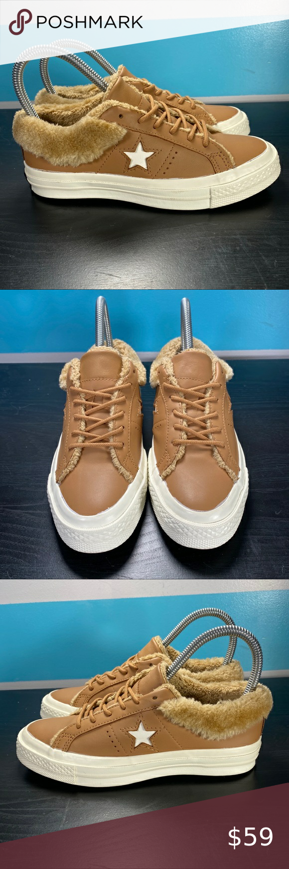 NEW converse one star faux fur sneakers
