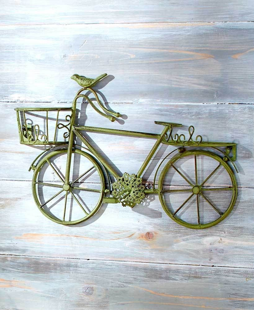 Vintage Metal Wall Art Green Bike With Basket Antique Look Home Decor Bicycle Cottage Chic Decor Bicycle Decor Wall Sculpture Art