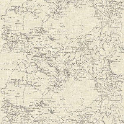Fresco Map Cream Wallpaper