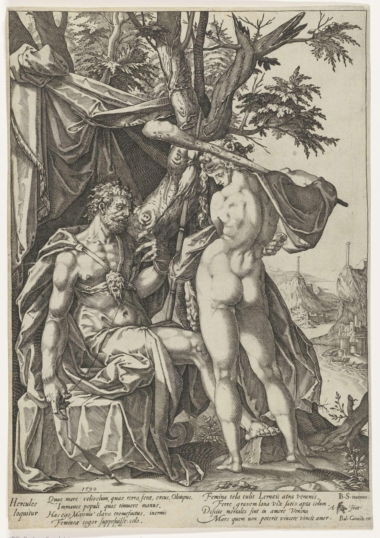 Hercules en Omphale, Anton Eisenhoit, Bartholomeus Spranger, Balthasar Caymox, 1590