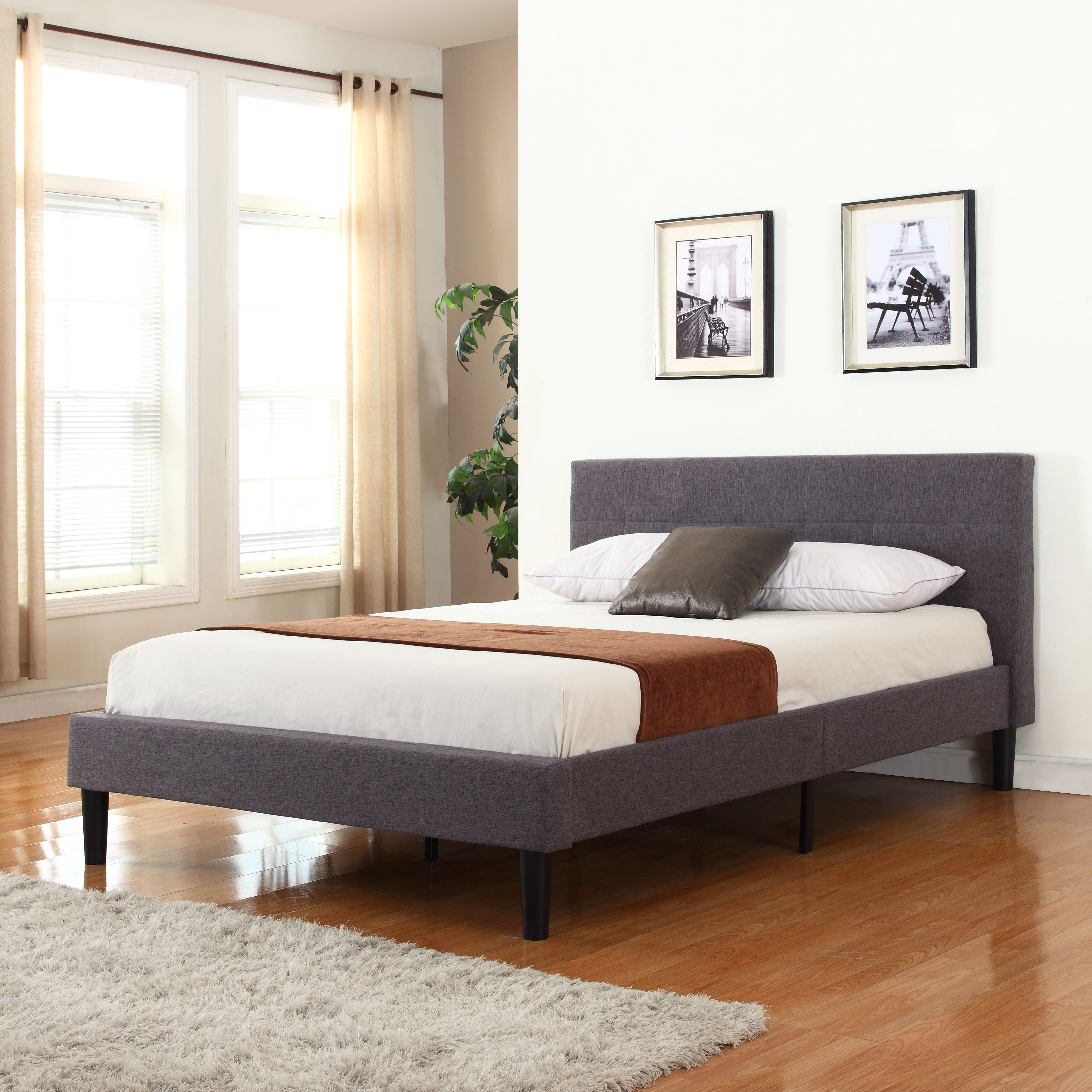 classic yet modern bed frame with grey linen fabric headboard is  - classic yet modern bed frame with grey linen fabric headboard isupholstered in same linen