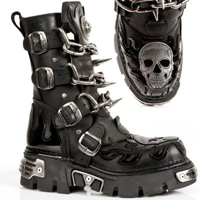 M727-S1 New Rock Boots w/ Patent Flames, Skull, Chains & Spikes