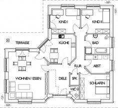 Winkelbungalow grundriss erdgeschoss mit 132 m wohnfl che for 4 kinderzimmer grundriss