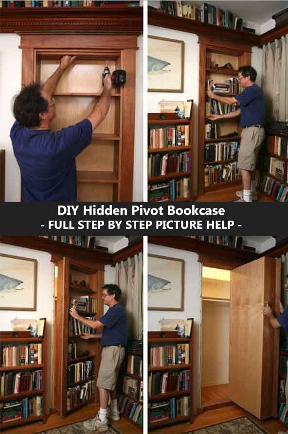 DIY Hidden Pivot Bookcase – FULL STEP BY STEP PICTURE HELP ...