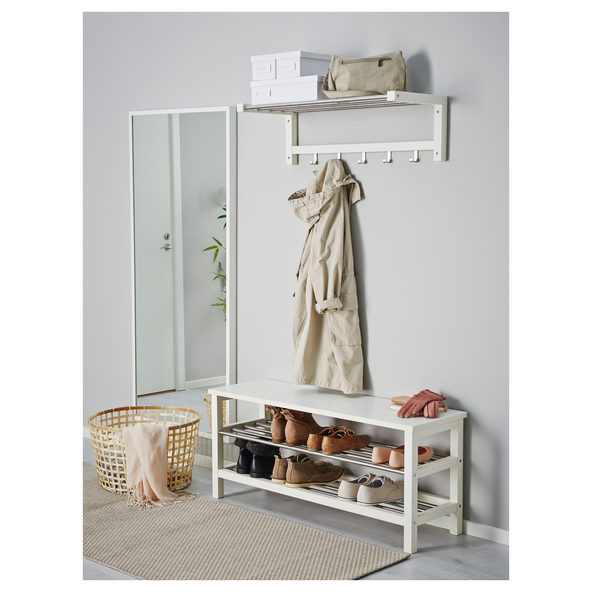 ikea - tjusig bench with shoe storage white