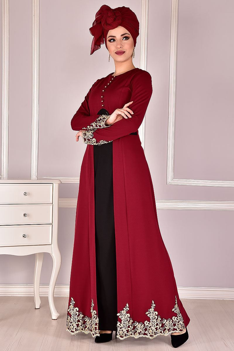 Elbise Bordo Elbise Kusakli Elbise Dantel
