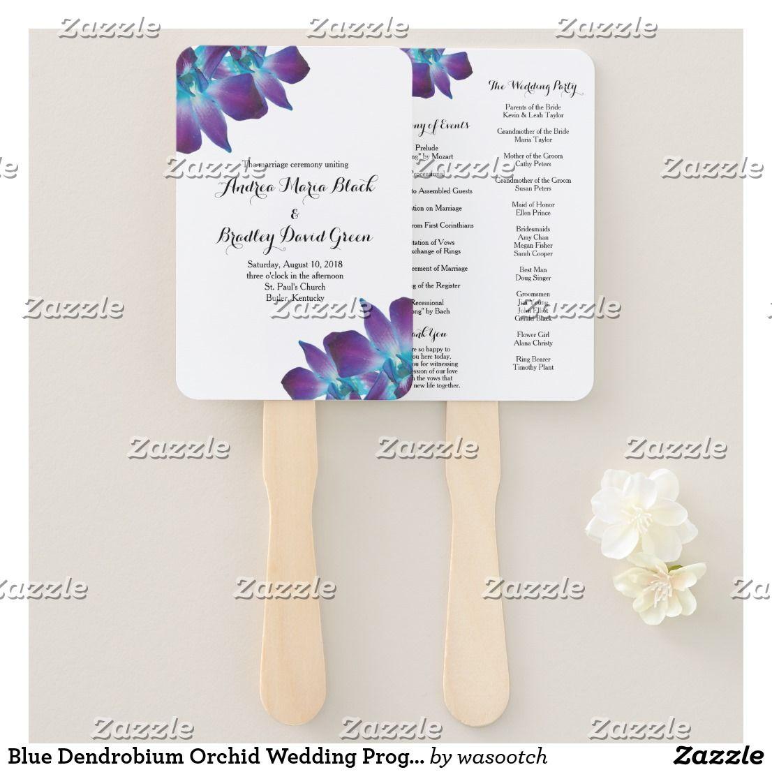 Blue dendrobium orchid wedding program fan flower art and craft