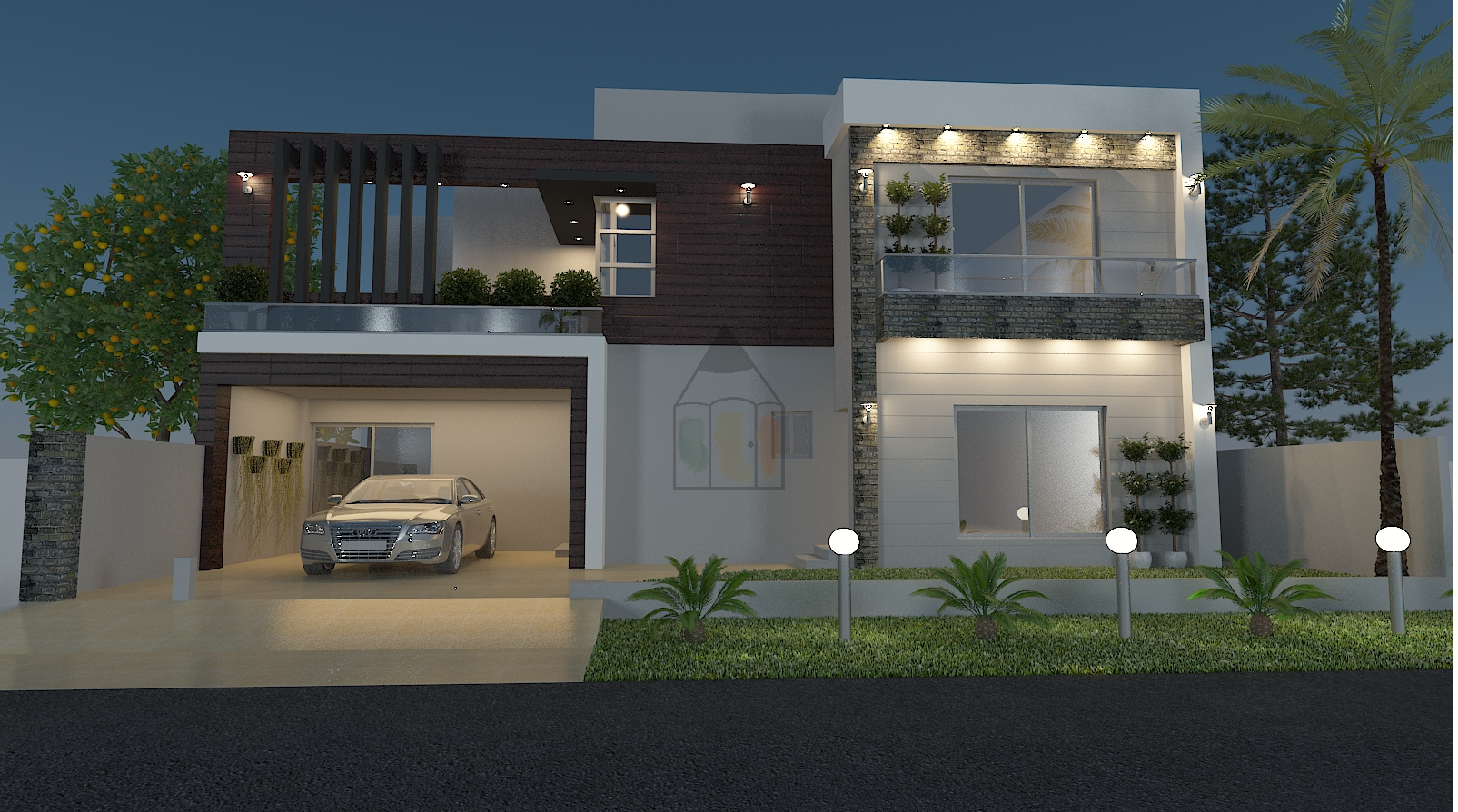 Ghar Ka Naksha With 5 Bedrooms With Attached Bathrooms Designed