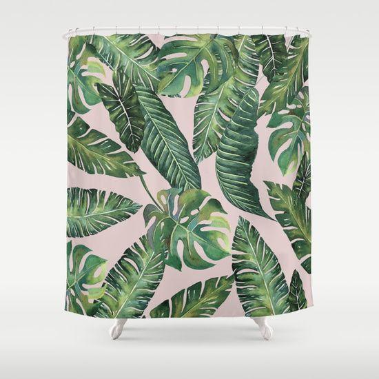 Jungle Leaves Banana Monstera Pink Society6 Shower Curtain By Wheimay Society6 Shower Curtain Designer Shower Curtains Patterned Shower Curtain