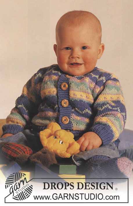 Babydrops 3 2 Drops Jacket With Pattern Borders And Socks In Muskat Free Pattern By Drops Design Baby Knitting Patterns Free Baby Knitting Drops Design