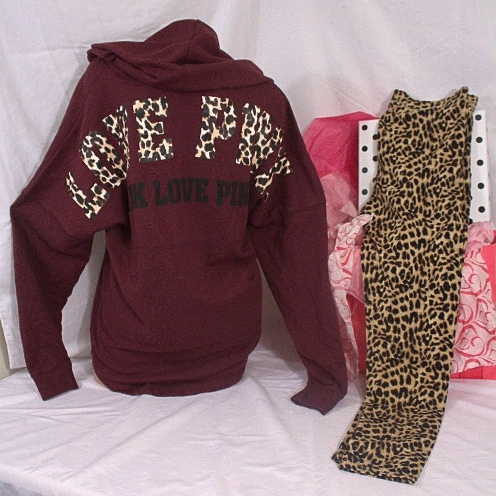 Victoria's Secret Pink sz M set Varsity Pullover Hoodie & Legging ...