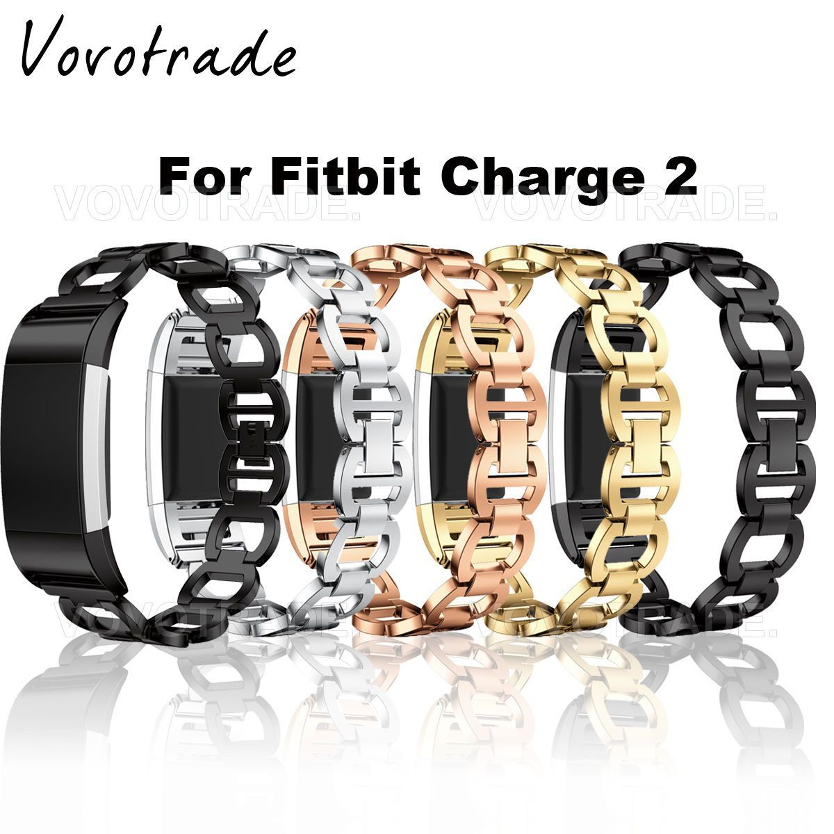 Genuine stainless steel bracelet smart watch band strap for fitbit