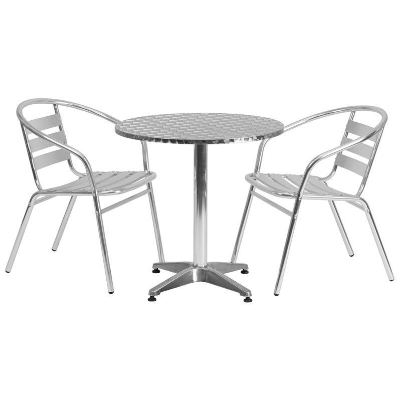 Create an enjoyable dining experience with this table set that will enhance your bistro, cafe, restaurant, hotel or home patio space. The designer style stainless steel table top features a smooth surface for keeping items level. The column and base are constructed of lightweight aluminum material. The chair is lightweight and easy to move and store. For easy storing and cleaning purposes these chairs stack up to 20 chairs high. This set was designed for all-weather use making it a great…