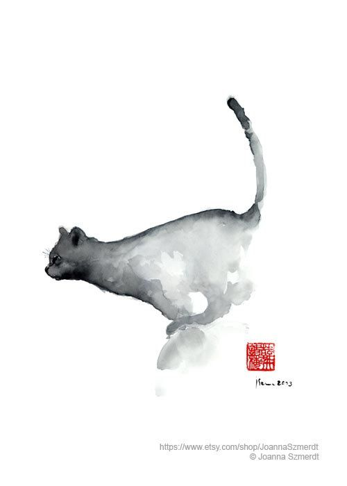 Jumping Cat Watercolor Painting, Navy Blue Cats Nursery Wall Decoration, Abstract Minimalist Art Print, Kids Room Decor Animal Poster