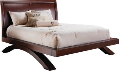 Platform Bed On Arched Base Slightly Curved Headboard No Boxspring Needed Bed King Bedroom King Bedroom Sets