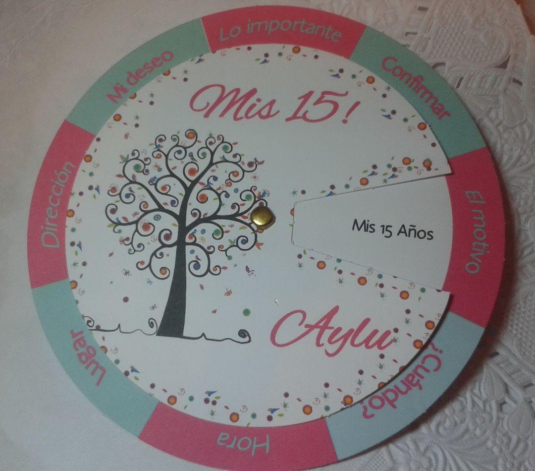 Modelo Giratorio árbol Fluo 15 Años Invitaciones