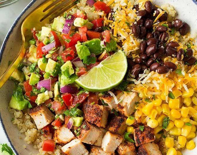 Grilled Chicken and Quinoa Burrito Bowls with Avocado ...