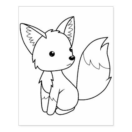 Cute Little Fox Coloring Page Rubber Stamp Zazzle Com Fox